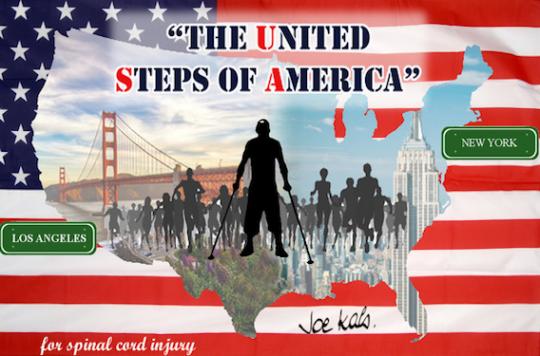 Paraplégie : un Français traverse les Etats-Unis en béquilles